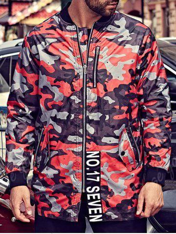 Store Plus Size Camo Jacket with Zip Pocket - 3XL RED Mobile