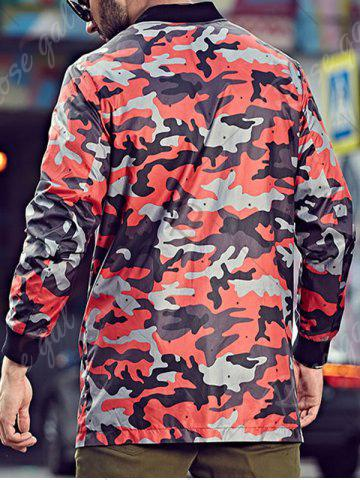 Chic Plus Size Camo Jacket with Zip Pocket - 3XL RED Mobile