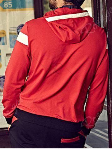 Best Plus Size Hooded Color Block Bomber Jacket - 4XL RED Mobile