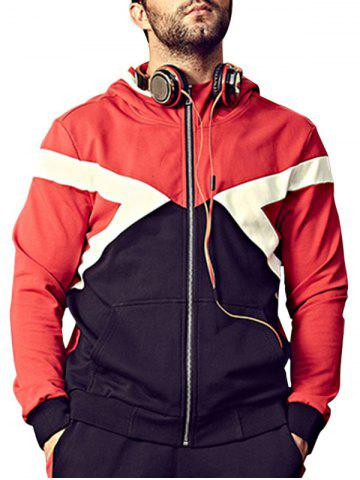Latest Plus Size Hooded Color Block Bomber Jacket - 4XL RED Mobile