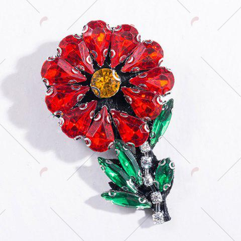 Outfit Faux Crystal Rhinestone Flower Brooch - RED  Mobile