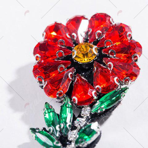 Chic Faux Crystal Rhinestone Flower Brooch - RED  Mobile
