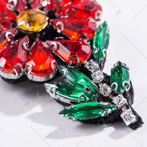 Discount Faux Crystal Rhinestone Flower Brooch - RED  Mobile