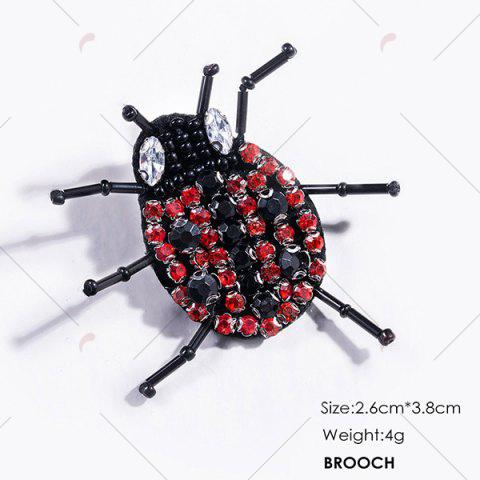 Affordable Rhinestoned Insect Brooch - BLACK  Mobile