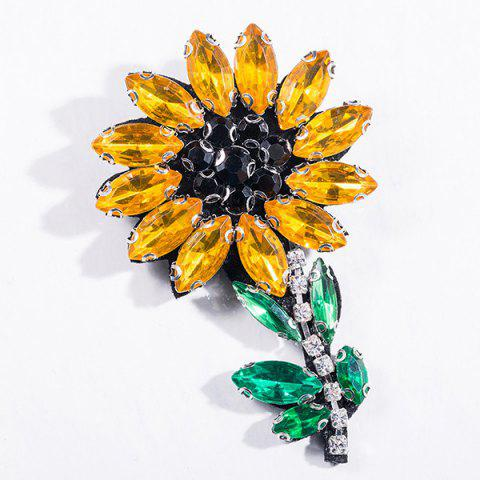 Chic Sparkly Faux Crystal Flower Brooch YELLOW