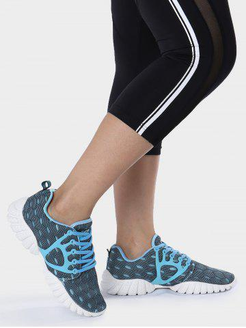 Latest Mesh Breathable Geometric Pattern Athletic Shoes - 39 BLUE Mobile