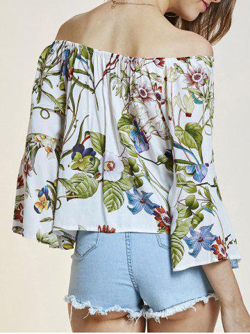 Off The Shoulder Flare Sleeve Flower Blouse - White - One Size