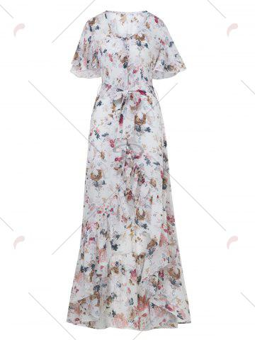 Latest Button Up Belted Asymmetrical Chiffon Maxi Dress - S WHITE Mobile