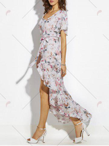 Hot Button Up Belted Asymmetrical Chiffon Maxi Dress - S WHITE Mobile