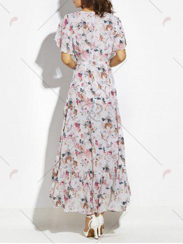 Chic Button Up Belted Asymmetrical Chiffon Maxi Dress - S WHITE Mobile