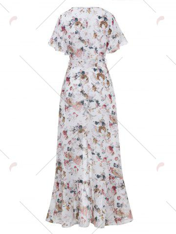 Outfits Button Up Belted Asymmetrical Chiffon Maxi Dress - S WHITE Mobile