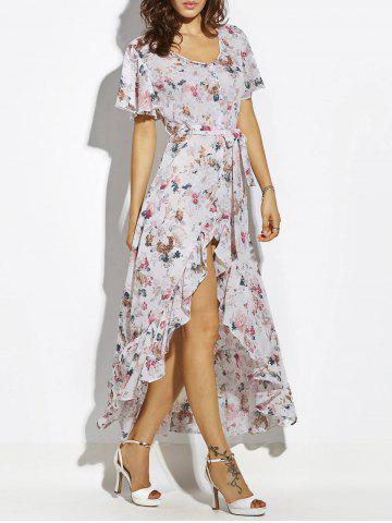 Button Up Belted Asymmetrical Chiffon Maxi Dress - White - Xl