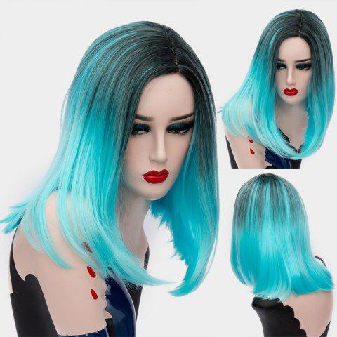 Short Middle Parting Ombre Silky Straight Synthetic Wig - Windsor Blue