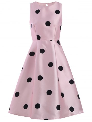 Outfit Polka Dot Print Sleeveless Cocktail Pin Up Dress - M PINK Mobile