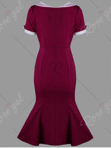Unique Swiss Dot Trim Bodycon Mermaid Dress - M WINE RED Mobile
