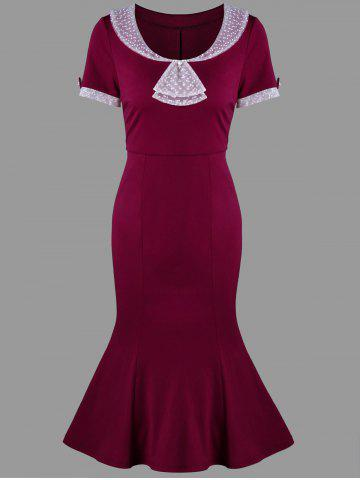 Best Swiss Dot Trim Bodycon Mermaid Dress WINE RED XL