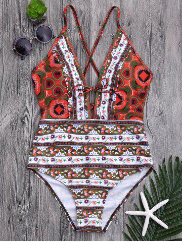 Plunge Floral One Piece Criss Cross Swimsuit Multicolore XL