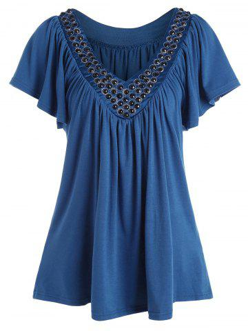 Plus Size V Neck Beaded Top - Peacock Blue - 7xl