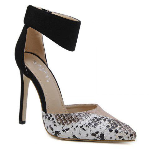 Point Toe Snake Printed High Heel Pumps - Apricot - 40