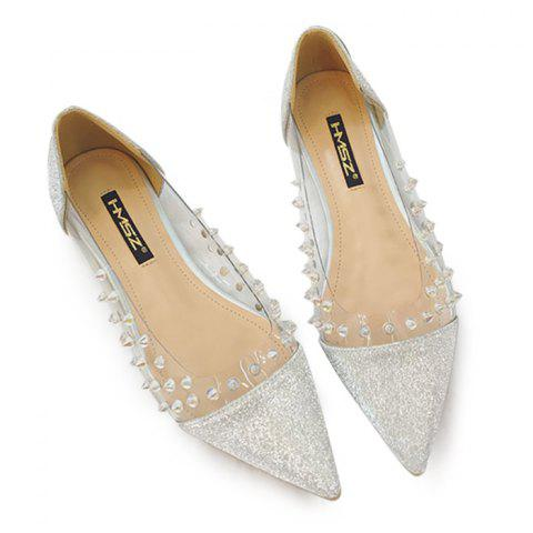 Clear Panel Studded Point Toe Flat - Silver - 38