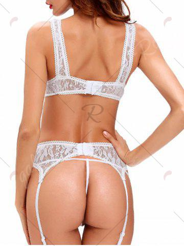 New Cropped Lace Bra Set with Garter Skirt - S WHITE Mobile