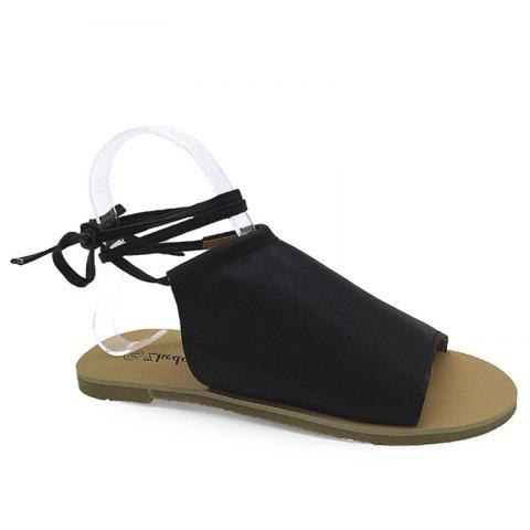 Shop Flat Open Toe Lace Up Sandals BLACK 38
