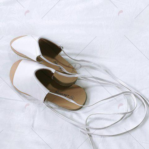 Discount Flat Open Toe Lace Up Sandals - 39 WHITE Mobile