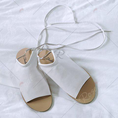 Online Flat Open Toe Lace Up Sandals - 39 WHITE Mobile
