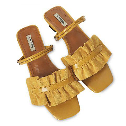 Block Heel Convertible Flounce Sandals - Yellow - 38