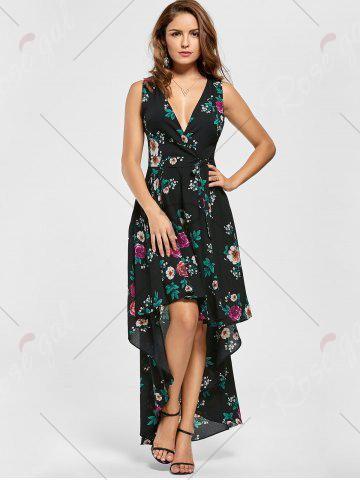 Outfit Floral High Low Dress - S BLACK Mobile