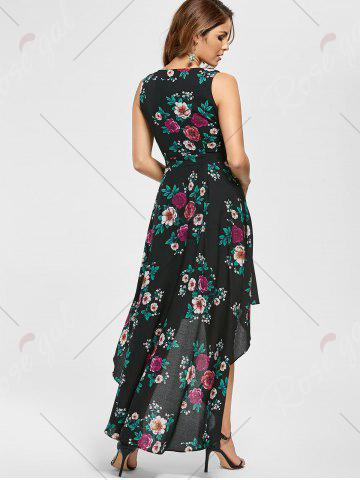 Outfits Floral High Low Dress - S BLACK Mobile