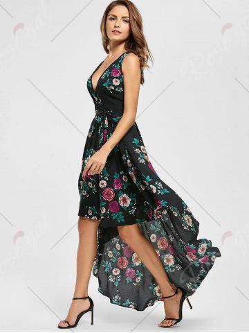 Discount Floral High Low Dress - S BLACK Mobile