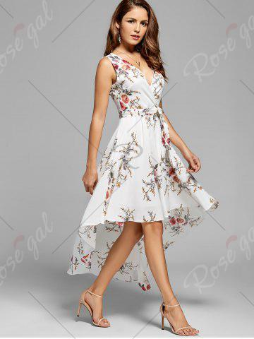 Store Floral High Low Dress - XL WHITE Mobile