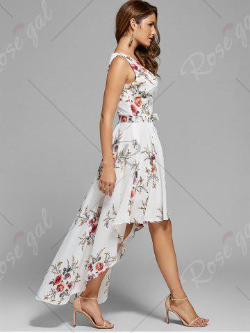 Buy Floral High Low Dress - XL WHITE Mobile