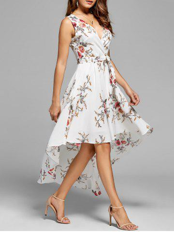 Sale Floral High Low Dress - XL WHITE Mobile