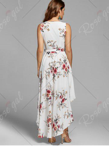 Hot Floral High Low Dress - XL WHITE Mobile