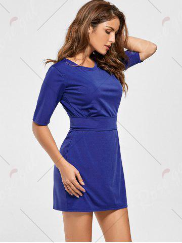 Fancy Belted Mini Fitted Dress - L BLUE Mobile