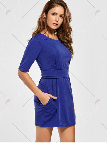 Trendy Belted Mini Fitted Dress - L BLUE Mobile