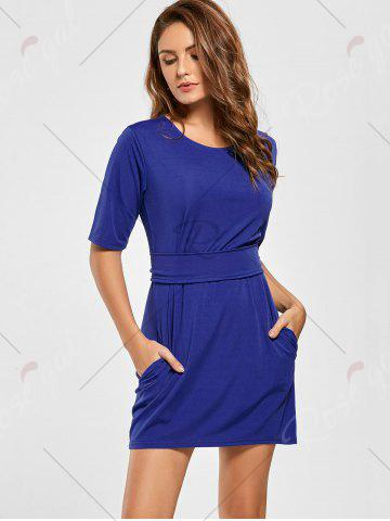 Affordable Belted Mini Fitted Dress - L BLUE Mobile