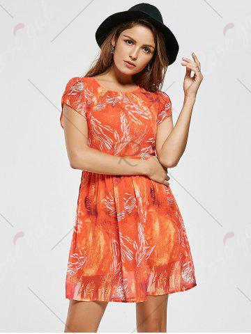 Best Chiffon Printed A Line Mini Dress - M ORANGE RED Mobile