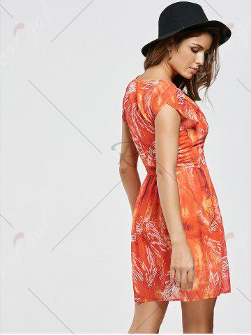 Outfit Chiffon Printed A Line Mini Dress - M ORANGE RED Mobile