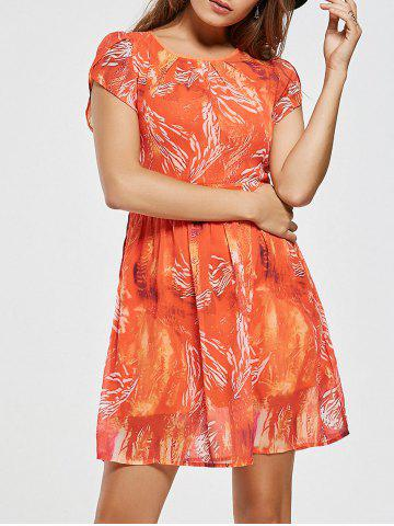 New Chiffon Printed A Line Mini Dress - M ORANGE RED Mobile