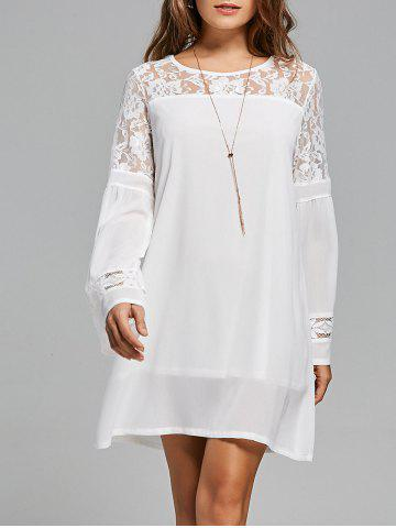 Shop Lace Panel Shift Dress with Sleeves - S WHITE Mobile