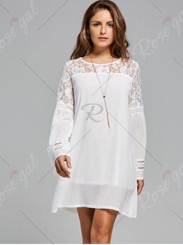 Hot Lace Panel Shift Dress with Sleeves - S WHITE Mobile