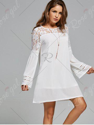 Best Lace Panel Shift Dress with Sleeves - S WHITE Mobile