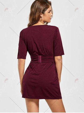 Chic Belted Mini Fitted Dress - M WINE RED Mobile