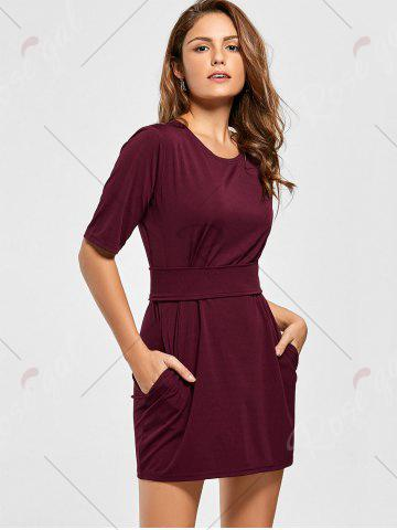 Shops Belted Mini Fitted Dress - M WINE RED Mobile