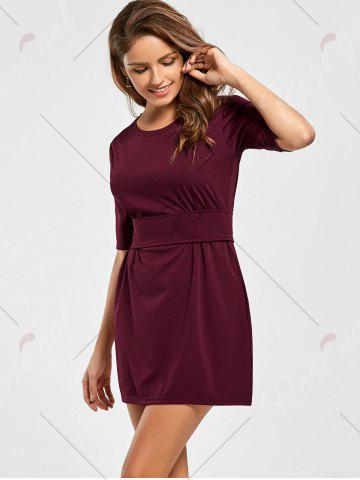 Shops Belted Mini Fitted Dress - S WINE RED Mobile