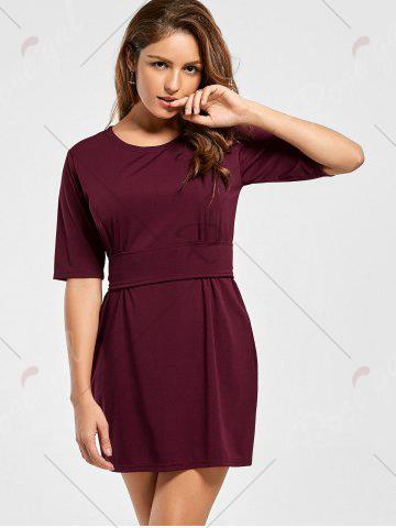 Unique Belted Mini Fitted Dress - S WINE RED Mobile