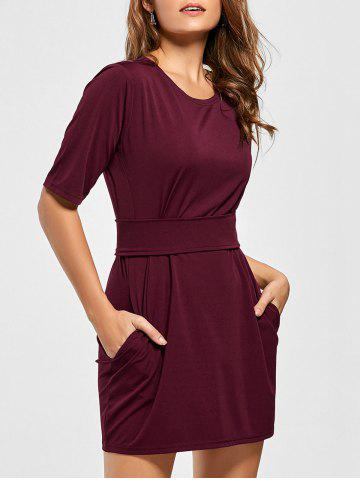 Buy Belted Mini Fitted Dress - S WINE RED Mobile